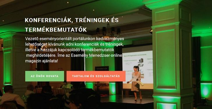 Esemény Menedzser - konferenciák, tréningek, termékbemutatók
